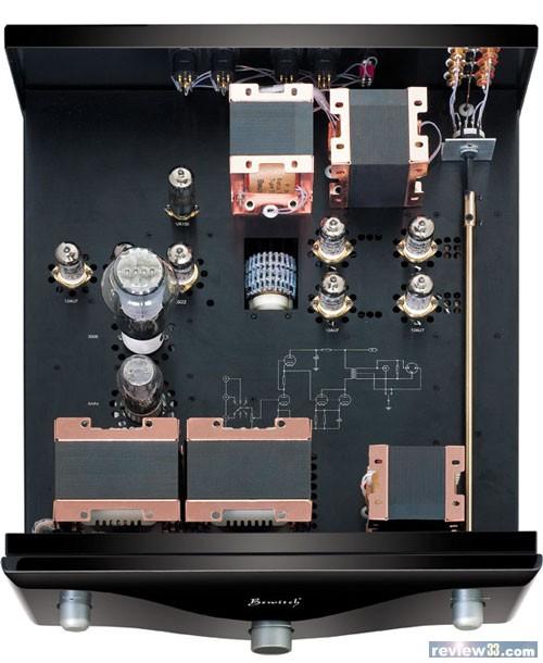 该前级的放大基本电路是:第一级12au7 srpp放大,第二级12au7并联